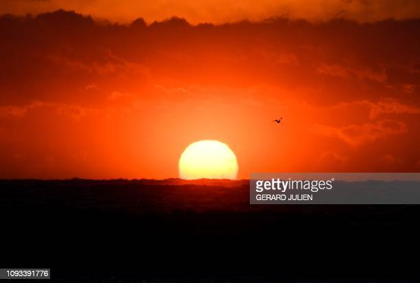 TOPSHOT A view shows the sunset on the Mediterranean Sea on February 3 2019 in Marseille southern France
