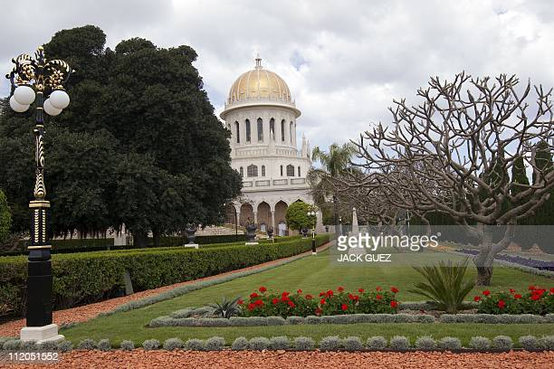 A view shows the terraced gardens and the golden Shrine of Bab following renovation works at the Bahai World Center in the Israeli port city of Haifa...