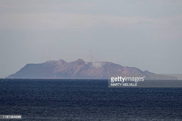 A view shows the White Island volcano in Whakatane on December 10 after a volcanic eruption the day before New Zealand's Prime Minister Jacinda...