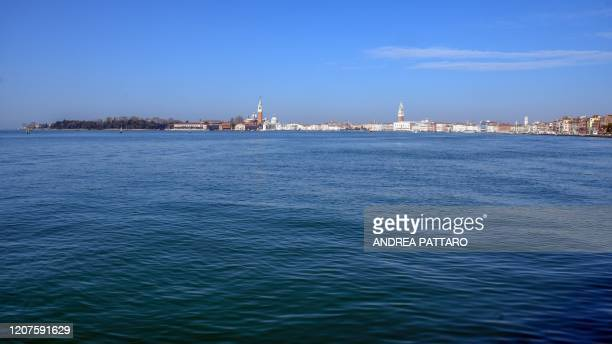View shows Venice from the Lido on March 18, 2020 in Venice during the country's lockdown within the new coronavirus crisis.