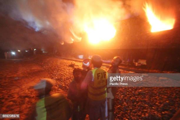 A view site of collision between a Shalimar passenger train and an oil tanker in the Sheikhupura near Nabipur gate district of Punjab Province At...
