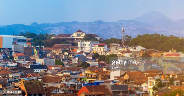 view skyline of the densely populated bandung city in java island, indonesia - java indonesia fotografías e imágenes de stock