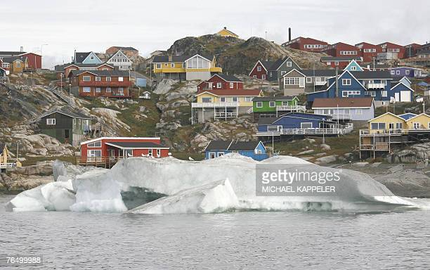 View taken 16 August 2007 of the town of Ilulissat in Greenland German Chancellor Angela Merkel and German Environment Minister Sigmar Gabriel visit...