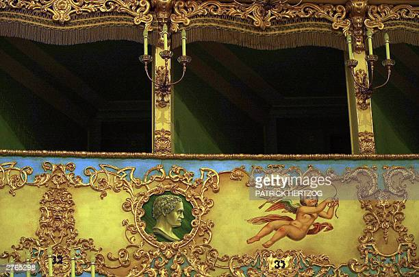 View taken 22 October 2003 of box seats in La Fenice Venice's venerable 18th century opera house La Fenice is due to reopen in December 2003 after a...