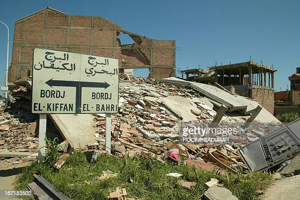 view taken 24 May 2003 in Dergana of ruins of a house destroyed by the deadly earthquake which hit Algeria 21 May 2003 and killed 1 875 people and...