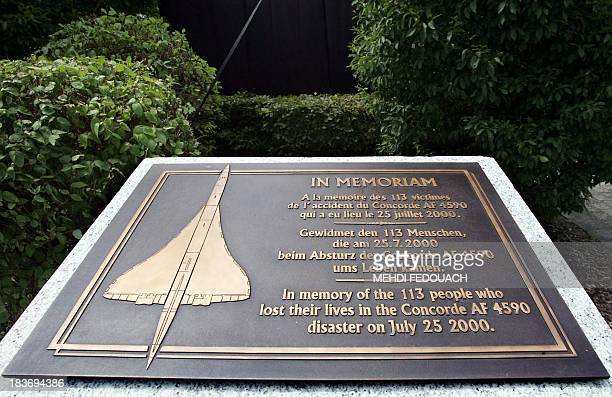 View taken 25 July 2005 in Roissy of the monument in memory of the victims of the 25 July 2000 Concorde crash near Charles de Gaulle airport. AFP...