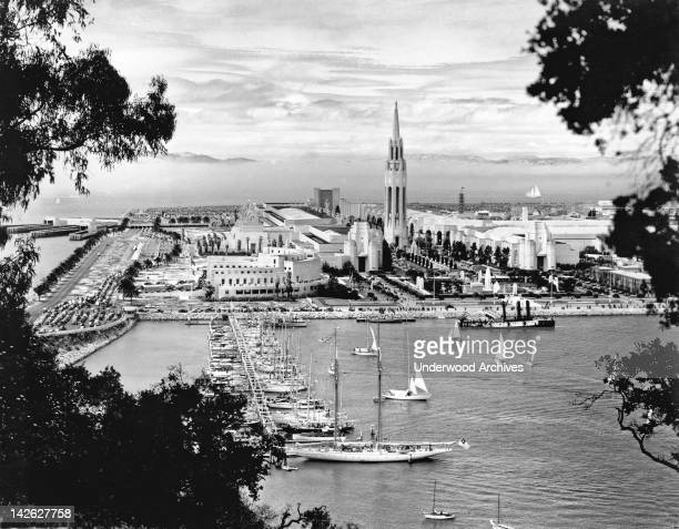 View taken from the San FranciscoOakland Bay Bridge of Treasure Island during the 1939 Golden Gate International Exposition San Francisco California...