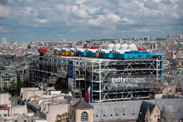 View taken from the Tour Saint-Jacques, on April 26, 2019 shows the Pompidou Center.