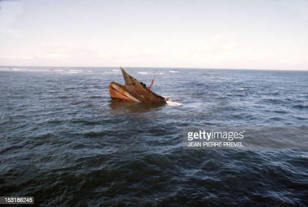 View taken in March 1978 of the wreck of the Liberian oil tanker Amoco Cadiz which ran aground near the small port of Portsall on the Breton coast 16...