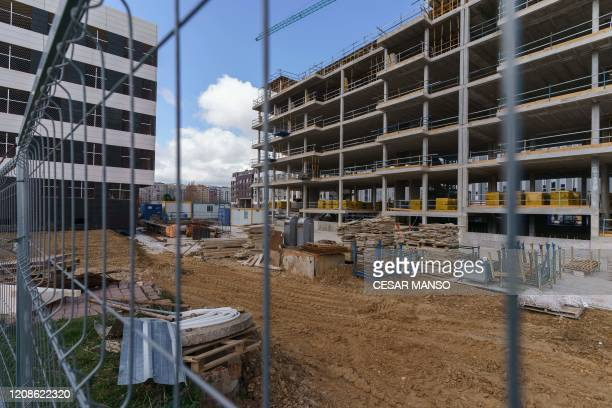 View taken of an empty construction site in Burgos on March 30 on the day that all nonessential activities were ordered to halt to try to contain the...