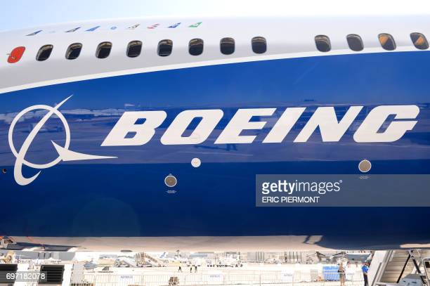 View taken of the Boeing logo on the fuselage of a Boeing 78710 Dreamliner test plane presented on the Tarmac of Le Bourget on June 18 2017 on the...