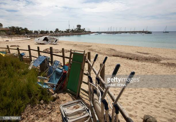 View taken on April 12 2020 of the empty beach of Punta Portals in Calvia during a national lockdown to prevent the spread of the COVID19 disease...