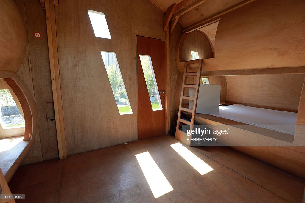 A view taken on April 25, 2013 shows the room called 'Le Nuage' (The Cloud) designed by French art distributor Zébra3/Buy-Sellf, set on the roof of Paris' artistic place 'Le Point Ephemere.' Le Nuage is a room with four single beds that can be rent for a night or more.