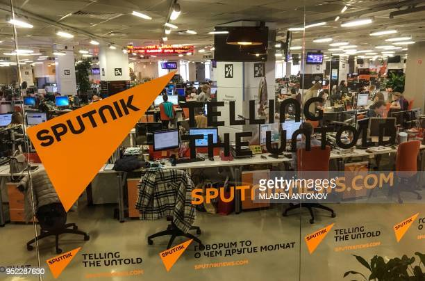 A view taken on April 27 2018 shows the main newsroom of Sputnik news part of the state run media group Russia Today in Moscow