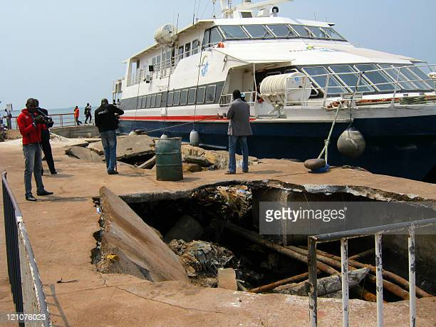 A view taken on August 13 2011 shows the old harbor of Gabon's economic capital of PortGentil as Gabonese President Ali Bongo visits the construction...