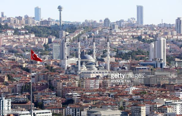 View taken on August 9, 2019 from Ankara Castle shows Kocatepe Mosque and Atakule television tower in Ankara .