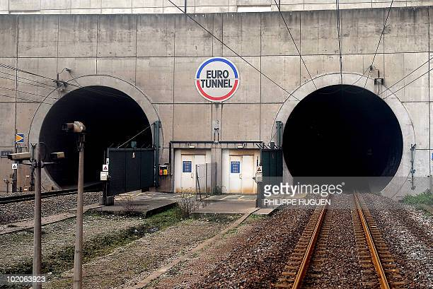 View taken on December 10, 2008 in Coquelles shows the entrance of the rail tunnel linking Britain and France, on the French side of the tunnel....