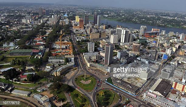 View taken on December 24 2010 from a helicopter shows the Plateau neighbouhrood business district in central AbidjanWest African leaders threatened...
