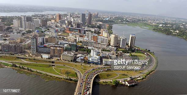 View taken on December 24 2010 from a helicopter shows the Plateau neighbourhood business district in central AbidjanWest African leaders threatened...