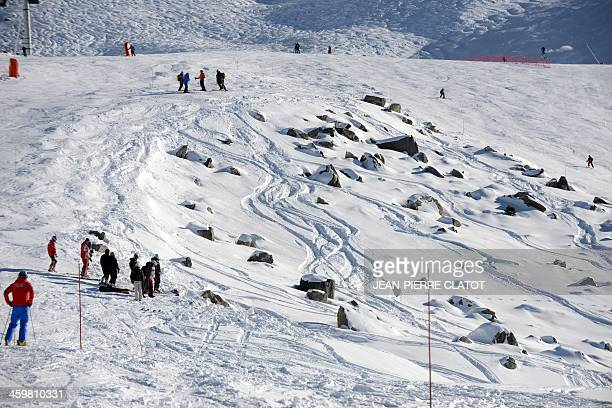 A view taken on December 31 2013 in the French Alps ski resort of Meribel shows the rocky part between two slopes where German retired Formula One...
