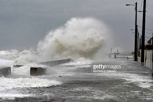 View taken on February 10 2009 shows the seafront in VersurMer western France as hurricaneforce gusts up to 140 kilometres per hour were recorded on...