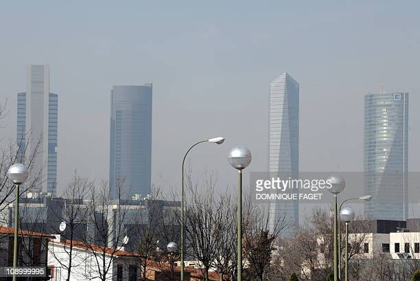 A view taken on February 11 2011 shows the pollution covering the sky of the Spanish capital The cities of Madrid and Barcelona have moved to curb...