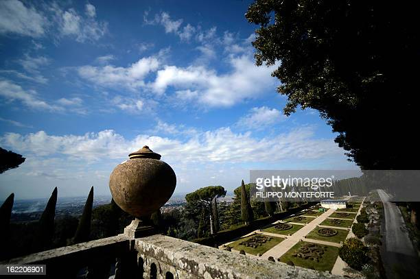 A view taken on February 20 2013 shows the gardens of the Apostolic Palace of Castel Gandolfo Italy Pope Benedict XVI will stay at the Vatican's...