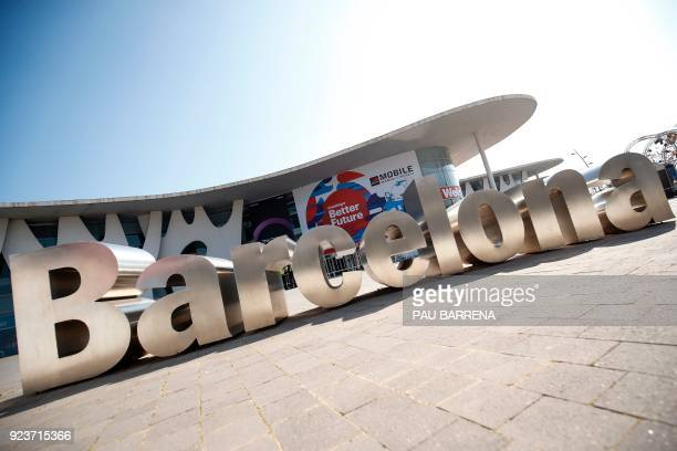 View taken on February 24 2018 of the Barcelona city sign in front of the main hall of the Mobile World Congress ahead of the start of the world's...