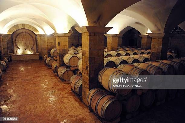 A view taken on January 13 2009 shows the wine cellar of Brahim Zniber near Meknes central Morocco Zniber a 88yearold Moroccan holds 80 percent of...
