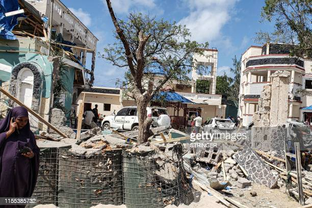 View taken on July 13, 2019 shows the rubbles of the popular Medina hotel of Kismayo, a day after at least 26 people, including several foreigners,...