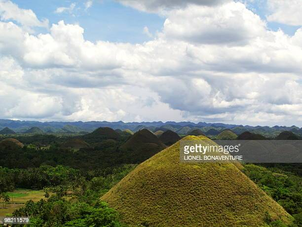 View taken on March 25 shows the Chocolate Hills an unusual geological formation in Tagbilaran Bohol Philippines According to a survey there are 1776...