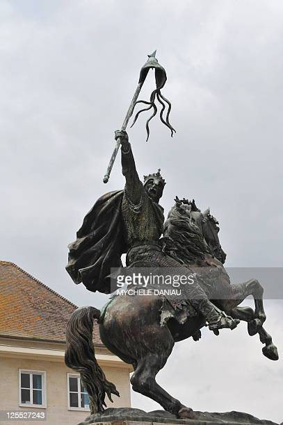 View taken on May 11 shows the statue of 'GuillaumeleConquerant' in Falaise Normandy western France where William the Conqueror was born in 1027 AFP...