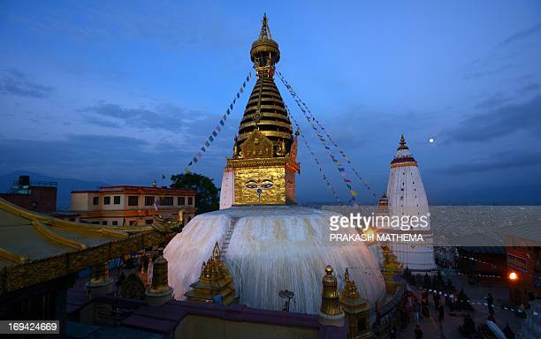 A view taken on May 24 2013 shows the Swayambhunath before the upcoming Buddha Purnima which marks the Buddha's birthday in KathmanduBuddha was born...