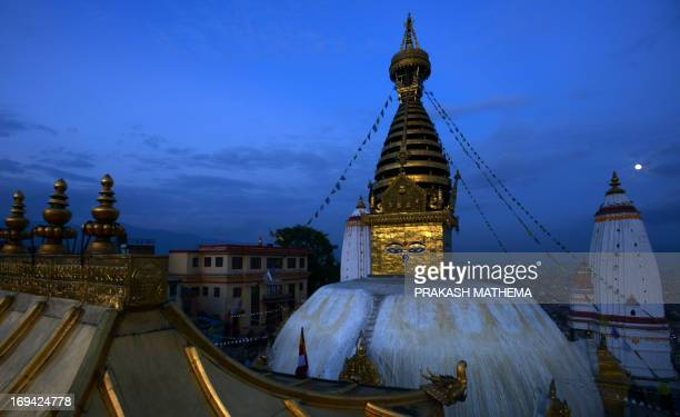 A view taken on May 24 2013 shows the Swayambhunath religiuos complex before the upcoming Buddha Purnima which marks the Buddha's birthday in...