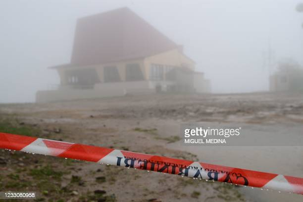 View taken on May 24, 2021 shows the cordoned off access to the arrival building of the Stresa to Mottarone cableway at the Mottarone peak, Piedmont,...