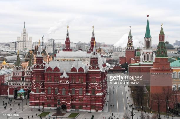 A view taken on November 23 2017 shows the State Historical Museum and the Kremlin's Towers in Moscow / AFP PHOTO / Mladen ANTONOV