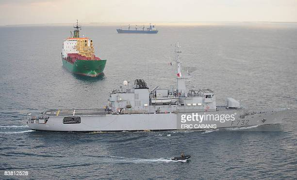 View taken on November 25 2008 from an helicoper flying over the French frigate Le Nivose leaving Djibouti harbour on its way to escort a convoy of...