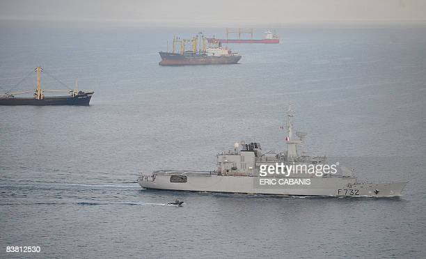 View taken on November 25, 2008 from an helicoper flying over the French frigate Le Nivose after leaving Djibouti harbour on its way to escort a...