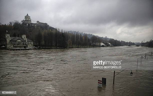 View taken on November 25 2016 of the overflowed Po river in Turin Torrential downpours caused flooding in parts of northwest Italy with the rains...