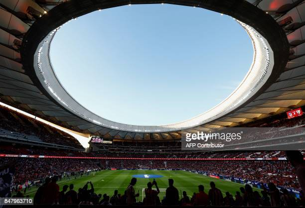 TOPSHOT View taken on on September 16 2017 of the new Wanda Metropolitano stadium before the Spanish league football match Club Atletico de Madrid vs...