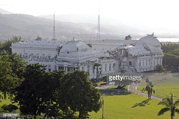 View taken on September 10 2010 in PortauPrince shows the Haitian Presidential Palace partially destroyed by a magnitude 70 earthquake on January 12...