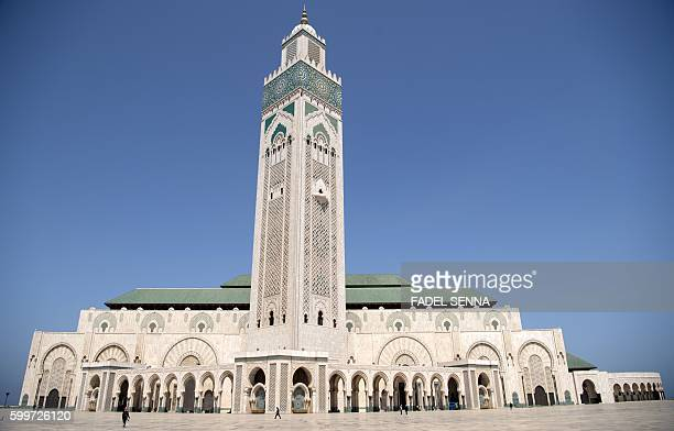 A view taken on September 6 2016 shows the Hassan II mosque in the coastal Moroccan city of Casablanca Two months before it hosts the COP22 climate...
