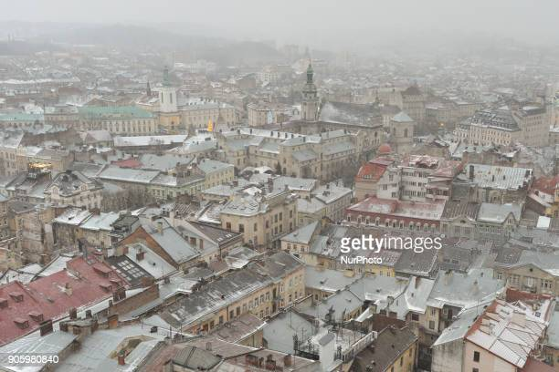 A view the center of Lviv town during a snow showers On Sunday January 14 in Lviv Lviv Oblast Ukraine