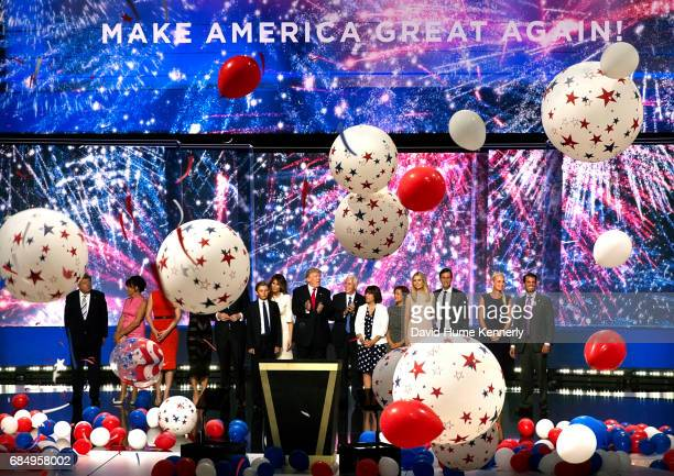 View the Republican candidates Donald Trump and Mike Pence and their families on the final night of the Republican National Convention at Quicken...