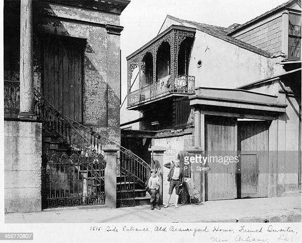 A view the side entrance of Beauregard House in the French Quarter in New Orleans Louisiana Circa 1900