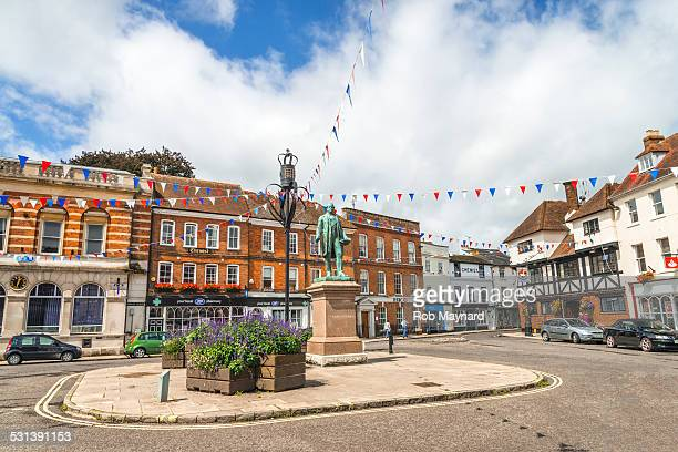 view the statue of palmerston romsey, hampshire uk - winchester hampshire stock photos and pictures