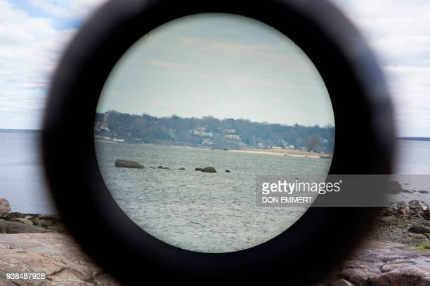 A view through a 15X spotting scope used by wildlife enthusiasts to view seals March 10 2018 near Orchard Beach in New York as the explorers spotted...