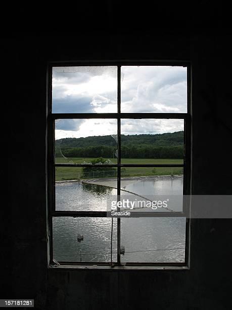 View through a broken window