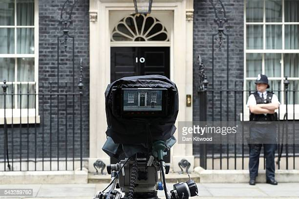 A view through a camera which is focused on the front door of number 10 Downing Street following a cabinet meeting on June 27 2016 in London England...