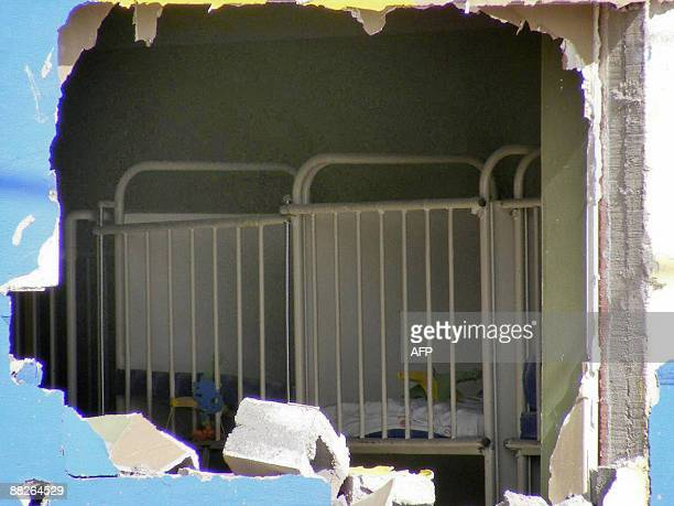 View through a hole in the wall of the interior of a daycare center where 27 children died in a fire in Hermosillo Sonora state Mexico on June 5 2009...
